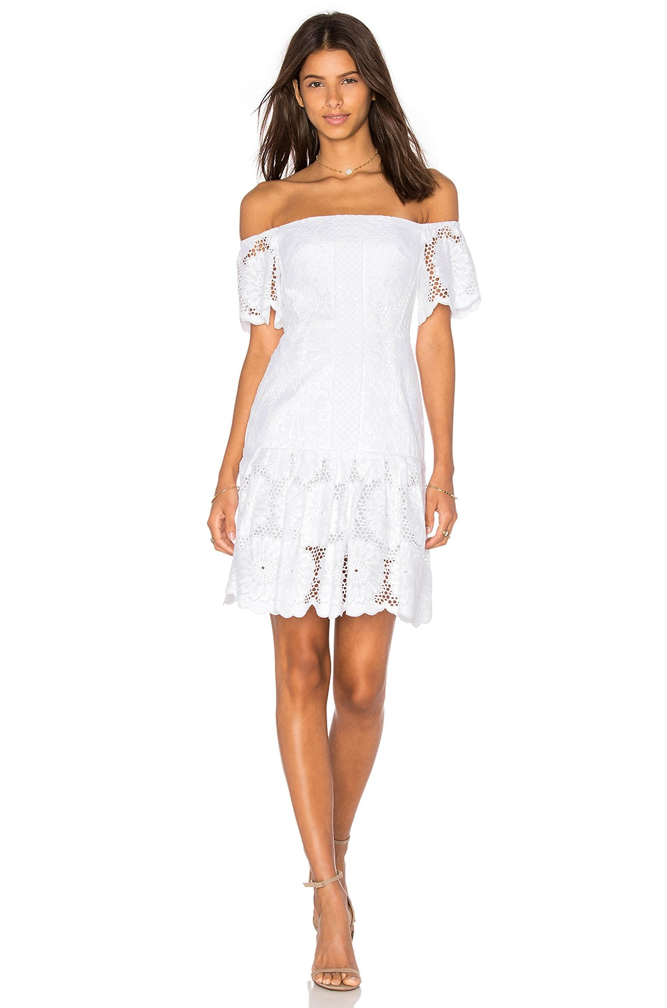 NICHOLAS Sunflower Lace Off Shoulder Dress in White