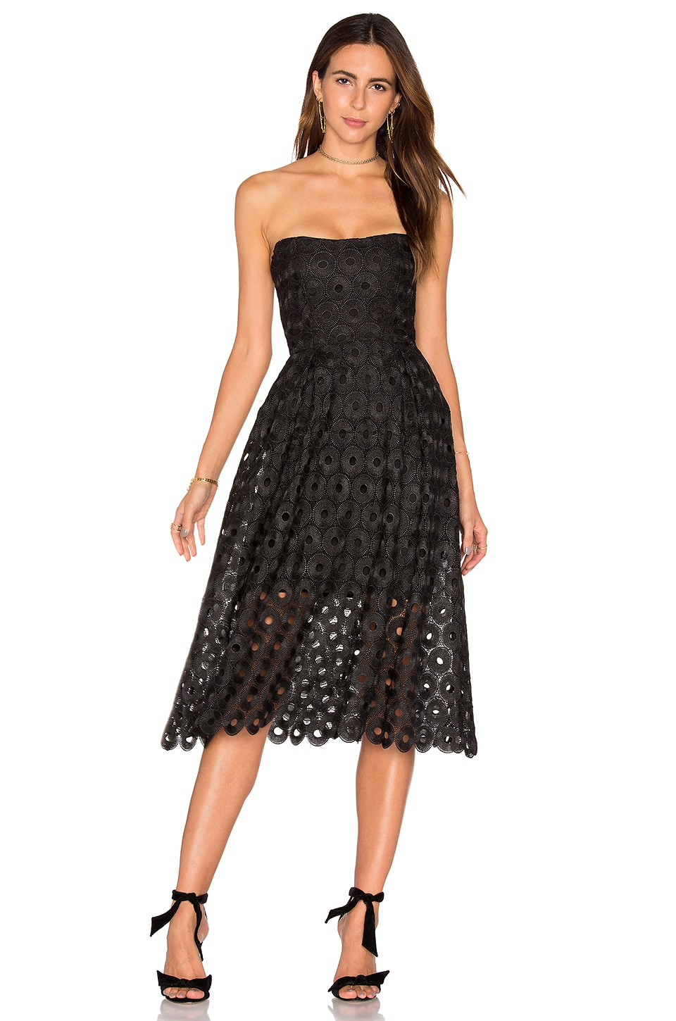 NICHOLAS Spot Lace Ball Dress in Black
