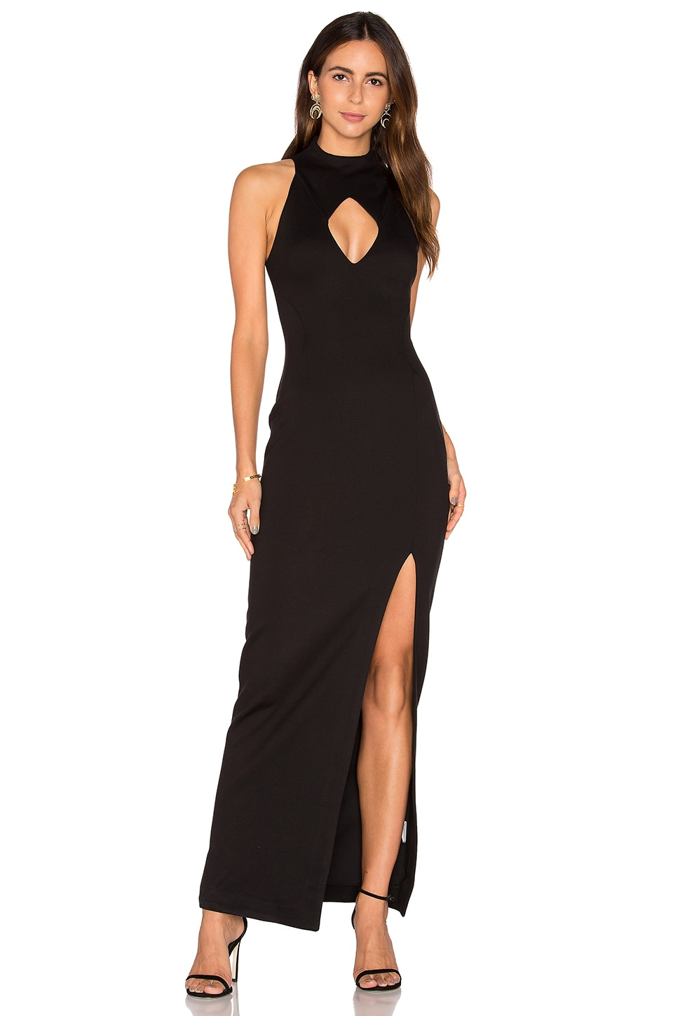 NICHOLAS Diamond Cut-Out Gown in Black