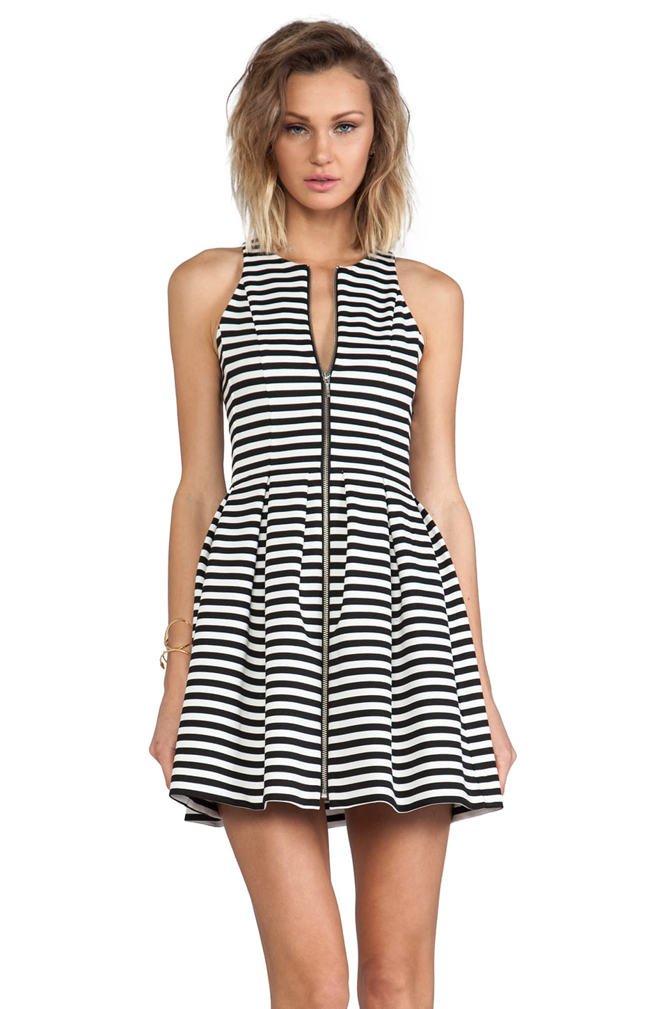 NICHOLAS Stripe Zip Pleat Dress in White & Black