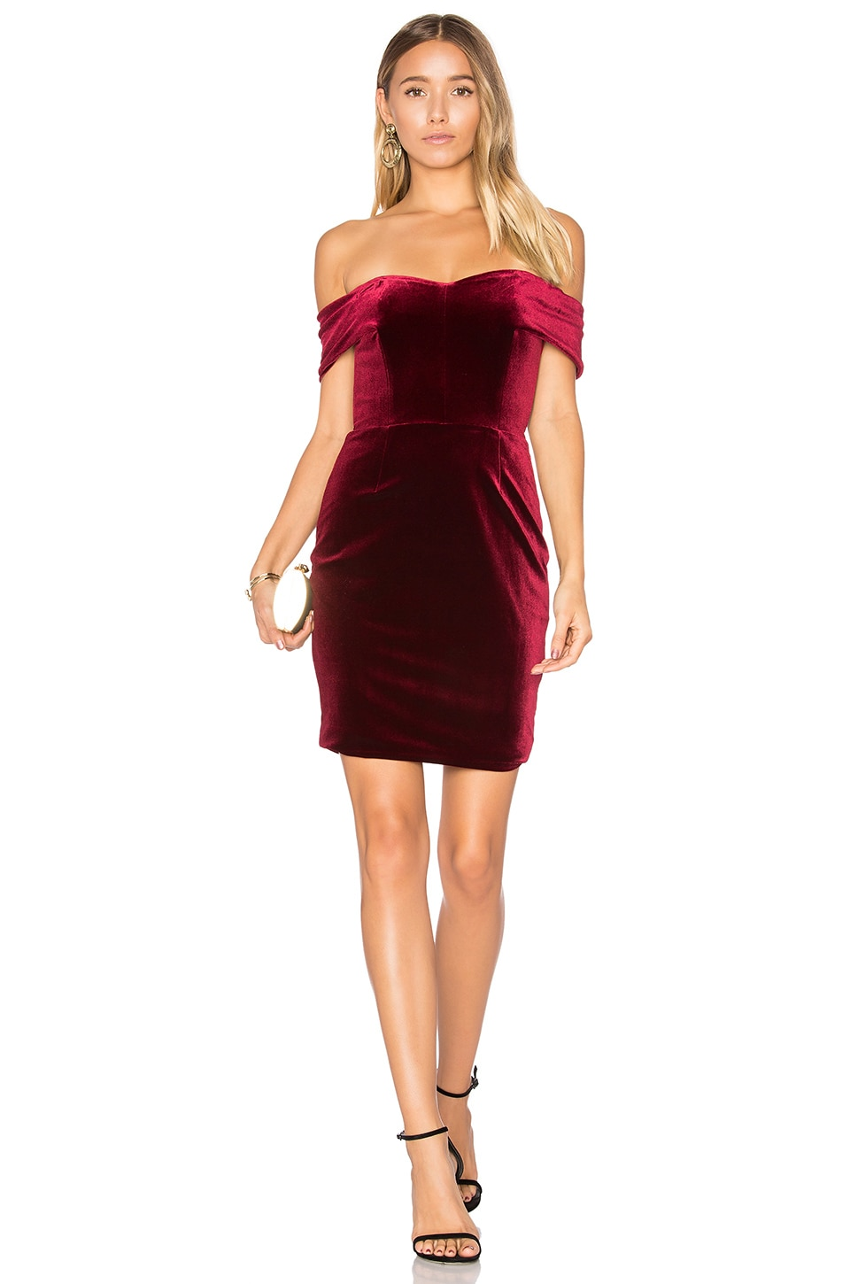 NICHOLAS Velvet Mini Dress in Bordeaux