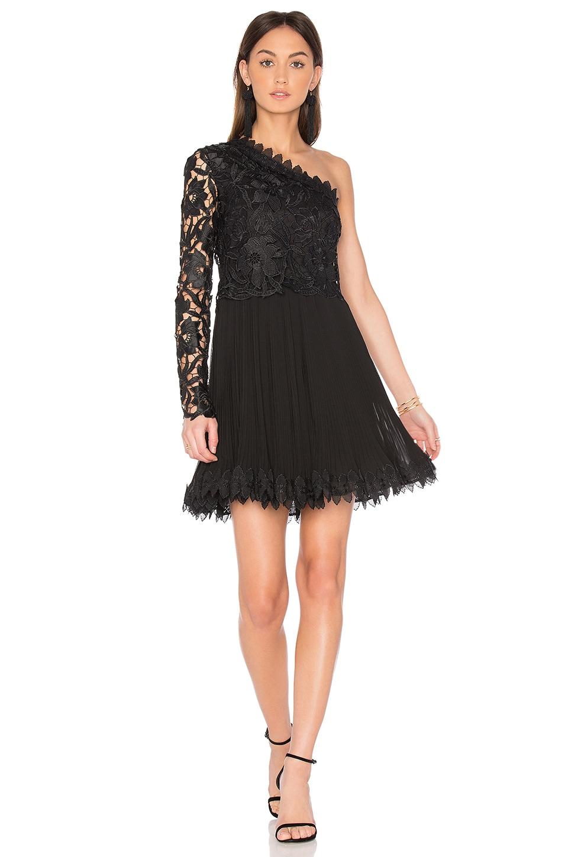 NICHOLAS Botanical Lace One Shoulder Dress in Black