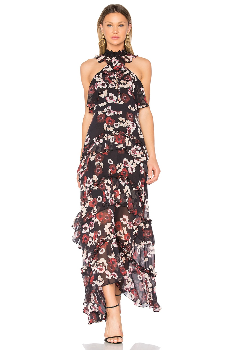 NICHOLAS Bordeaux Floral Gown in Bordeaux Floral