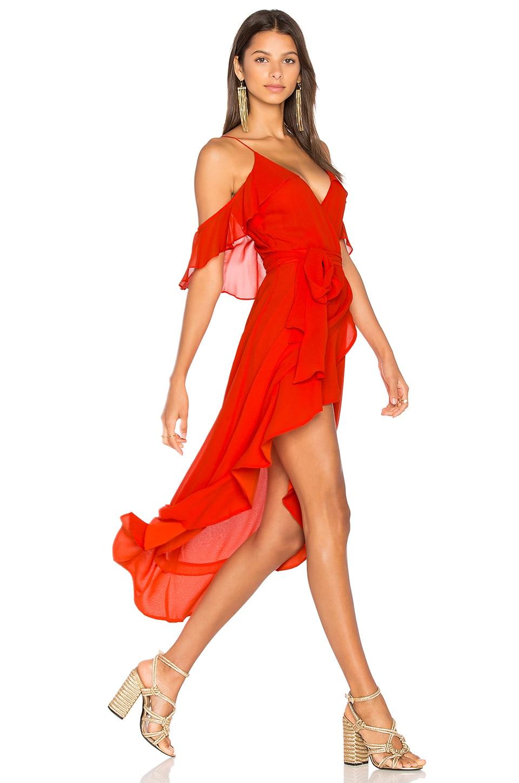 NICHOLAS Georgette Wrap Dress in Poppy Red