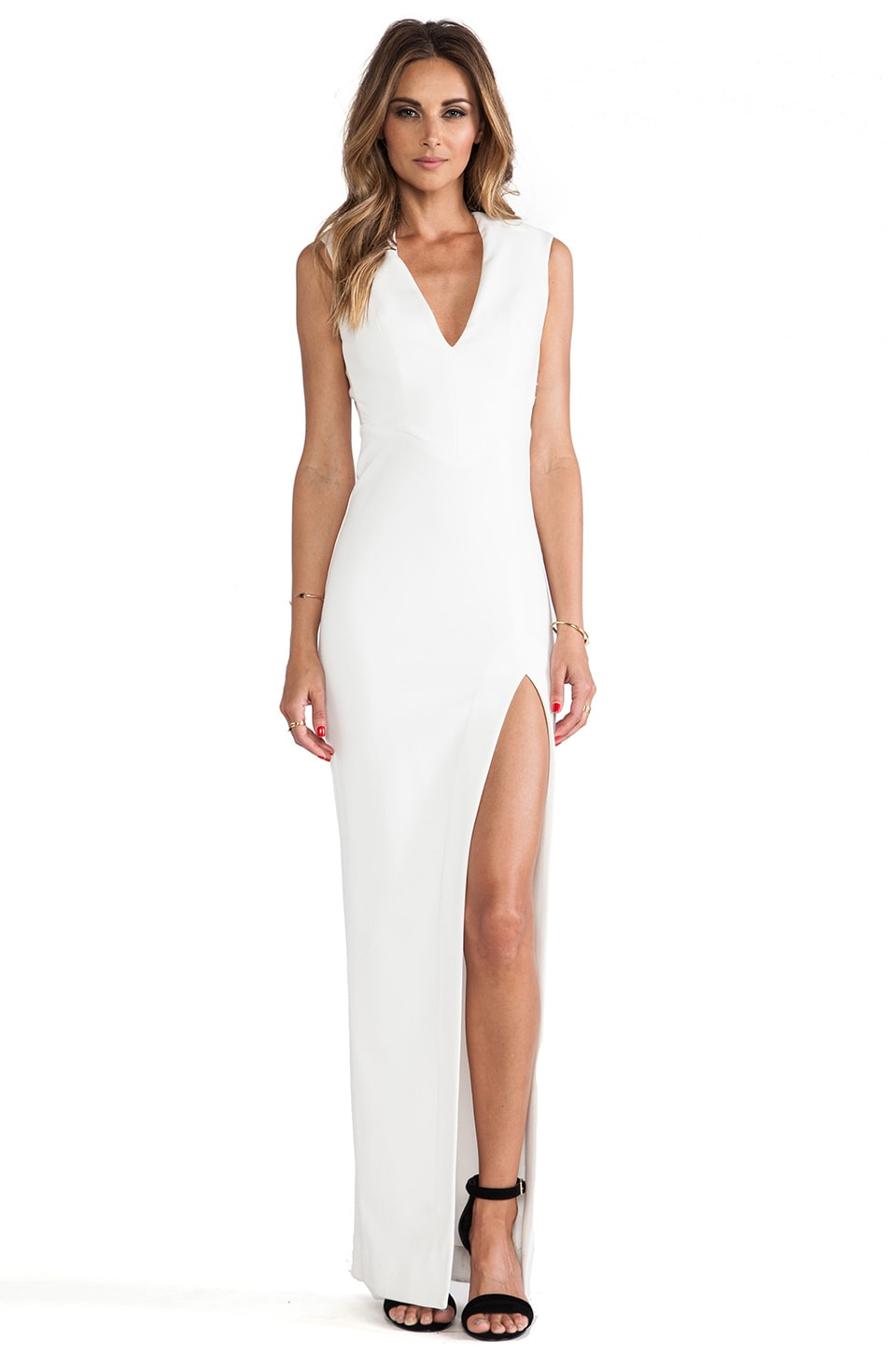 NICHOLAS Event V Neck Gown in White