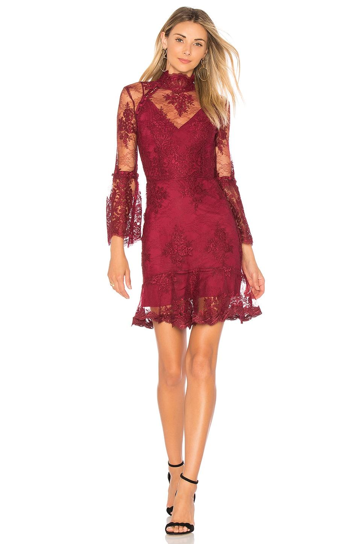 NICHOLAS Octavia Button Dress in Burgundy