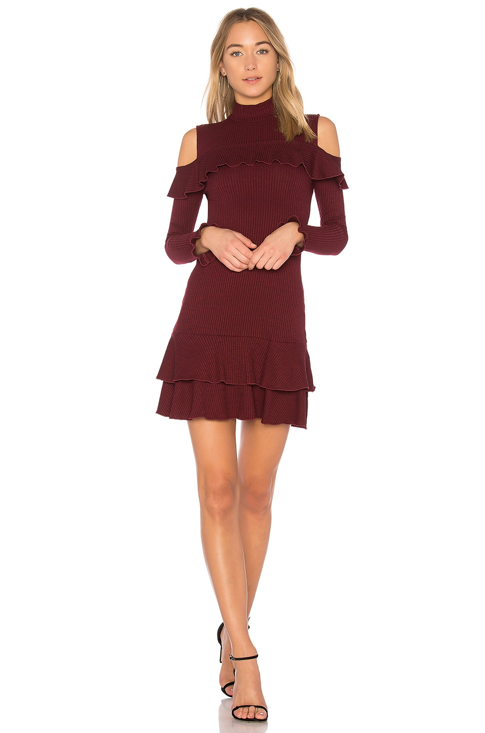 Rib Knit Ruffle Mini Dress by NICHOLAS