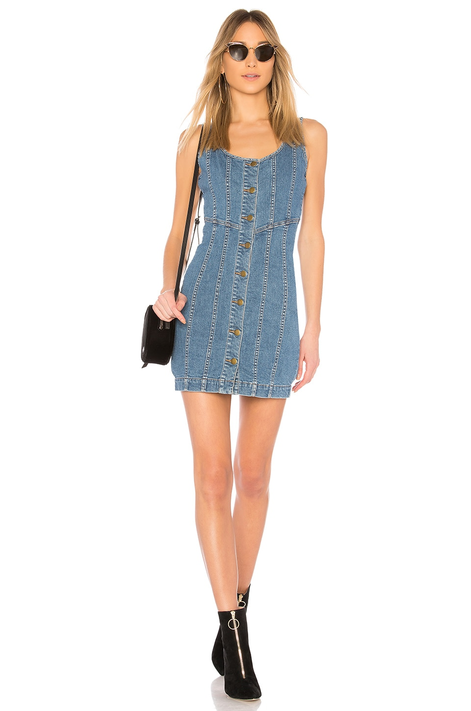 NICHOLAS Denim Button Front Mini Dress in Washed Blue