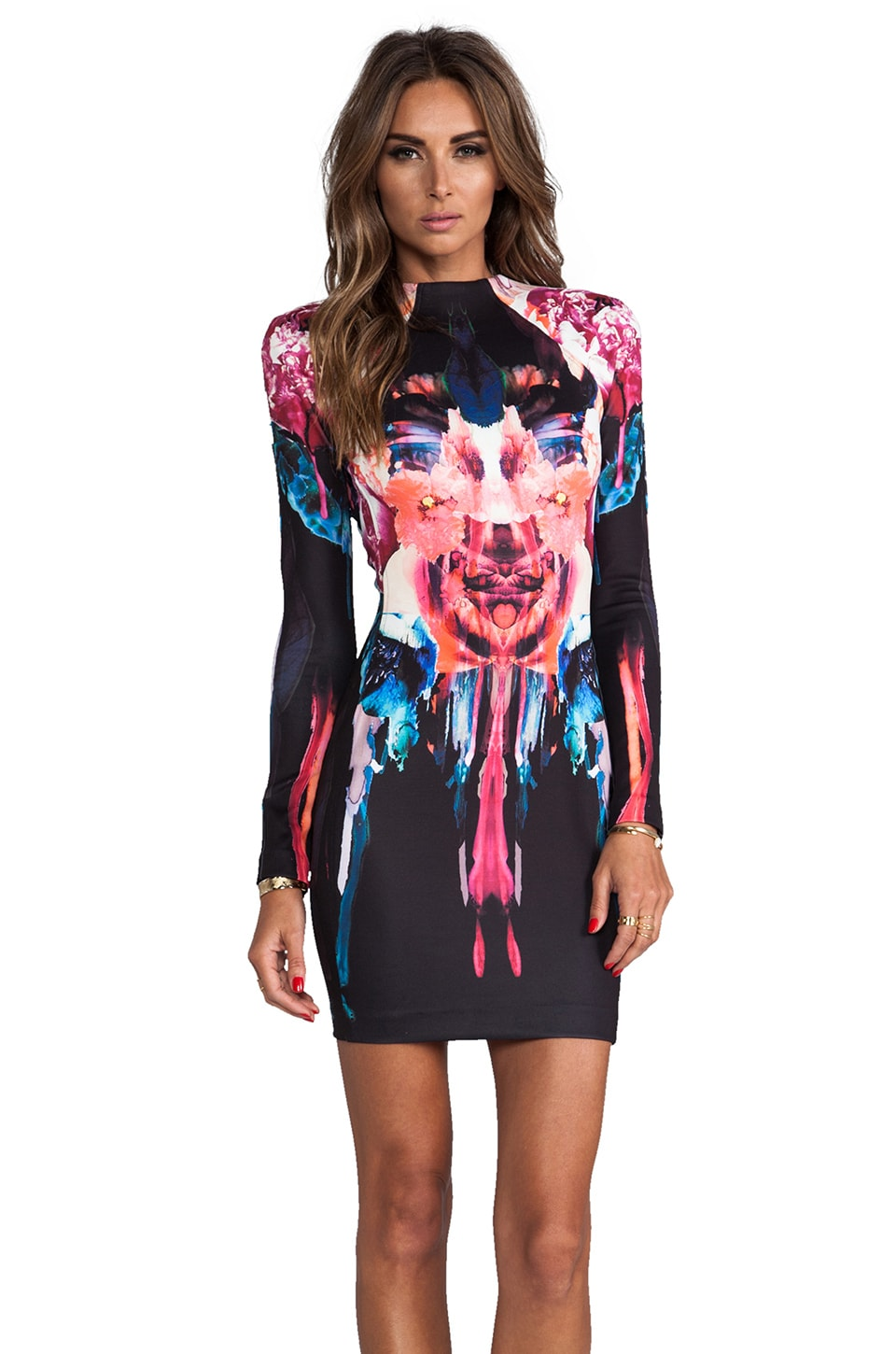 NICHOLAS Melted Floral Scuba Long Sleeve Dress in Multi