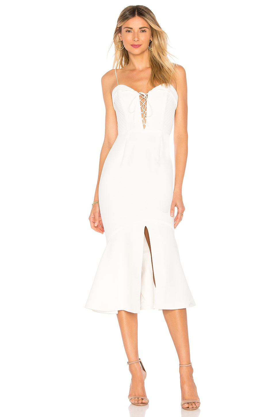 NICHOLAS Crepe Flip Hem Dress in Ivory