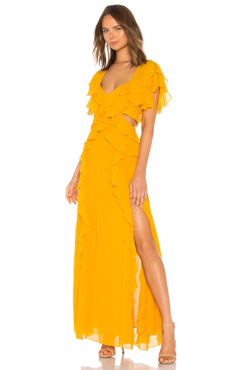 x REVOLVE Georgette Backless Gown