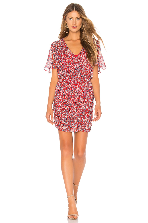 NICHOLAS Red Blossom Ruched Silk Minidress