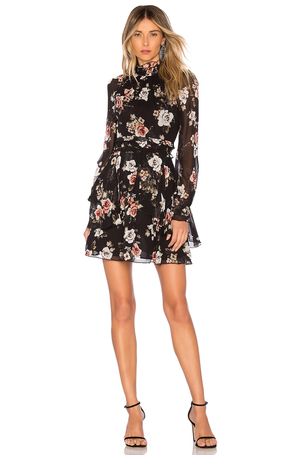 NICHOLAS Black Rose High Neck Mini Dress in Black