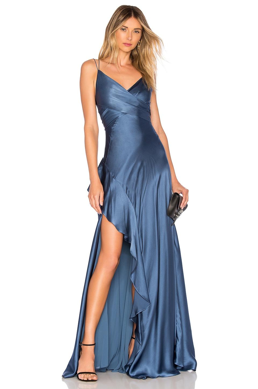NICHOLAS Silk Charmeuse Maxi Dress in Dusty Blue
