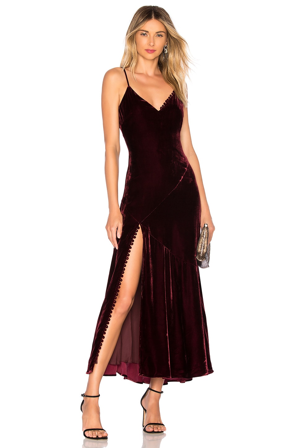 Nicholas NICHOLAS SILK VELVET SLIP PANEL DRESS IN WINE.
