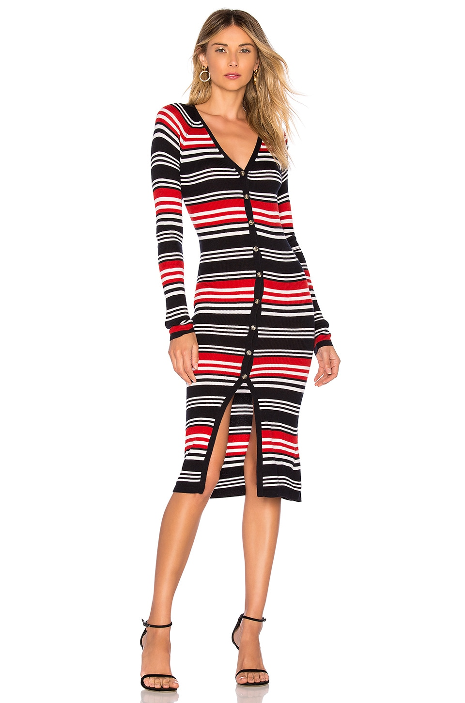 NICHOLAS Merino Rib Dress in Red Stripe