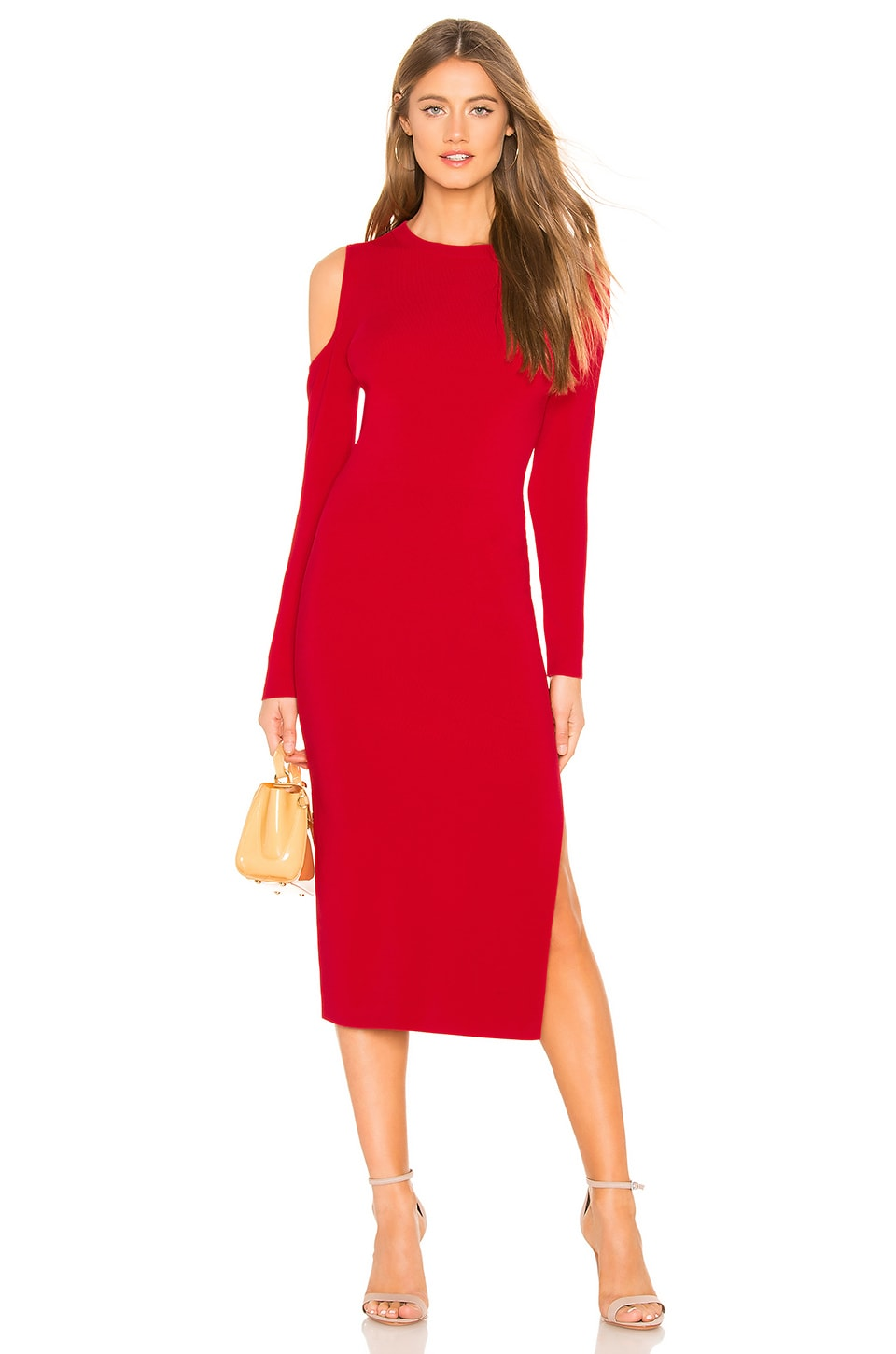 NICHOLAS Compact Cold Shoulder Dress in Red