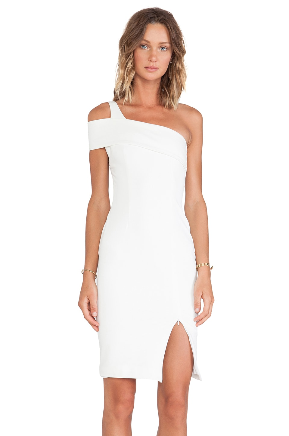 NICHOLAS Ponti Wrap Backless Dress in White