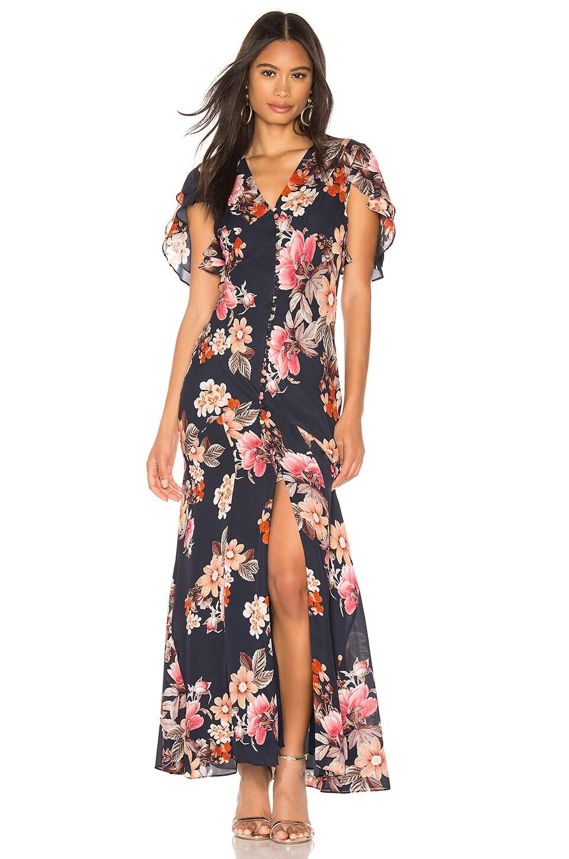 Nicholas Rust Floral Layered Pintuck Dress