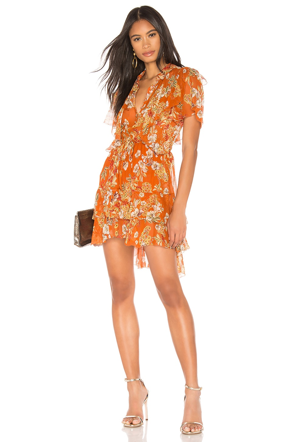 NICHOLAS Floral Ruffle Cascade Dress in Orange