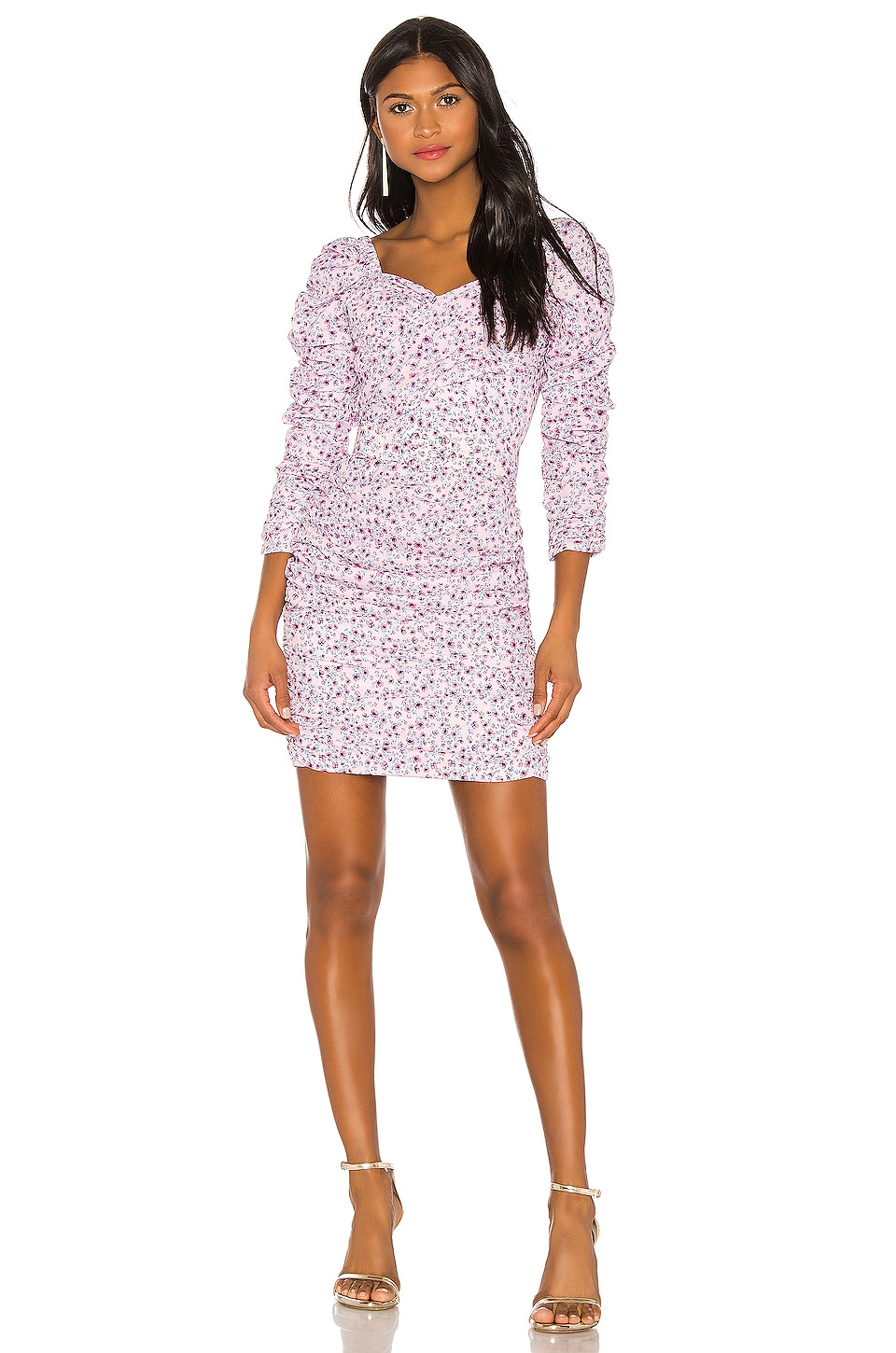NICHOLAS X REVOLVE Ruched Mini Dress in Pink Poppy Multi