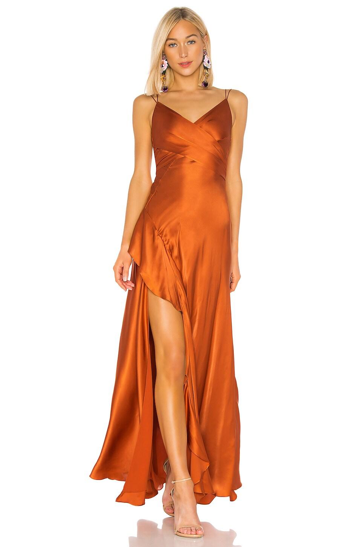 NICHOLAS Silk Charmeuse Tie Front Maxi in Deep Orange