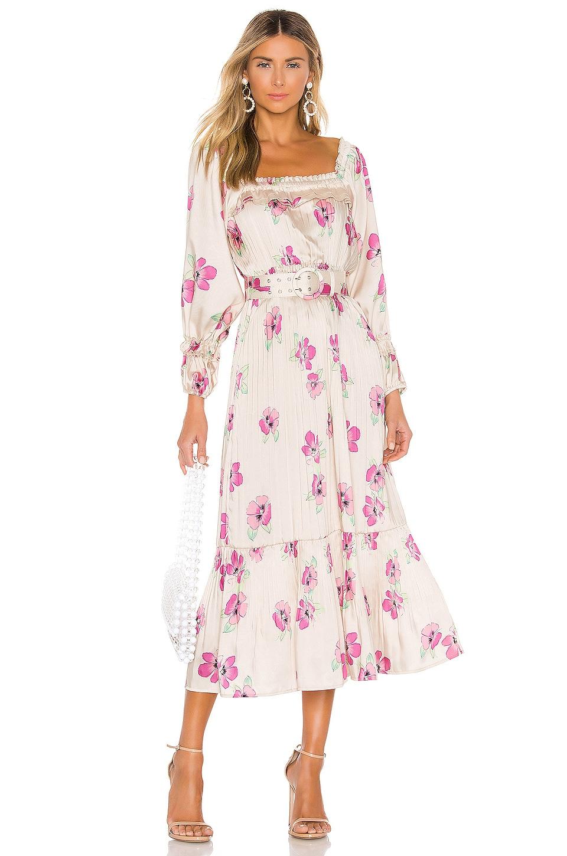 NICHOLAS Pleated Prairie Dress in Fuchsia Multi