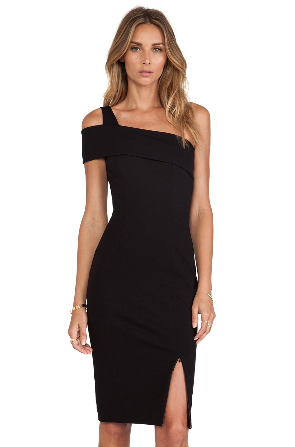 NICHOLAS Ponti Wrap Backless Dress in Black