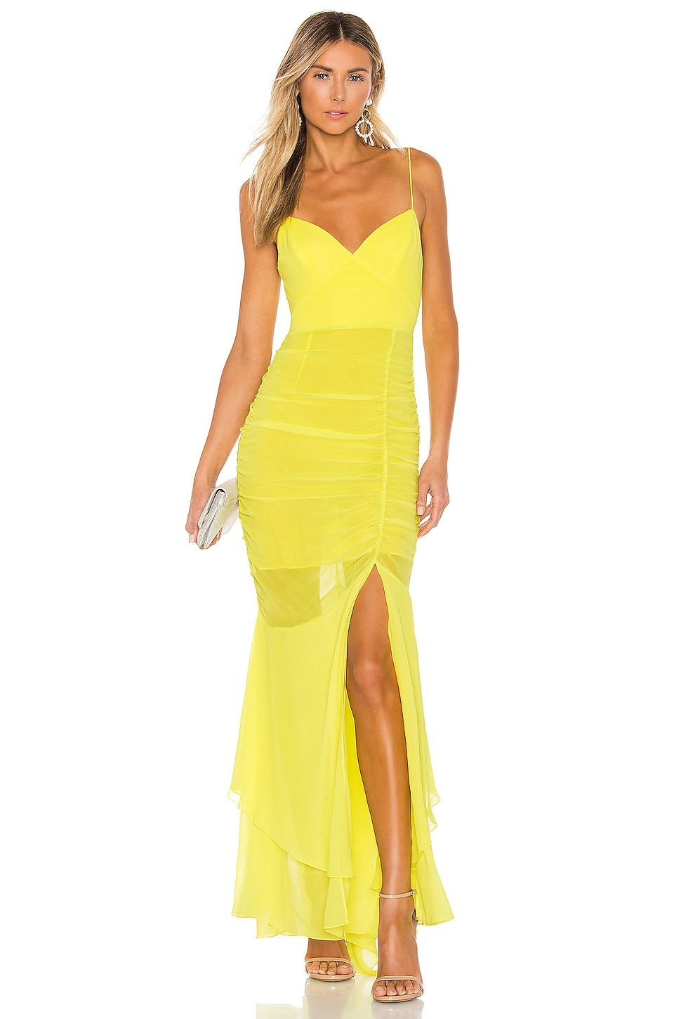 NICHOLAS Drawstring Dress in Fluorescent Lime