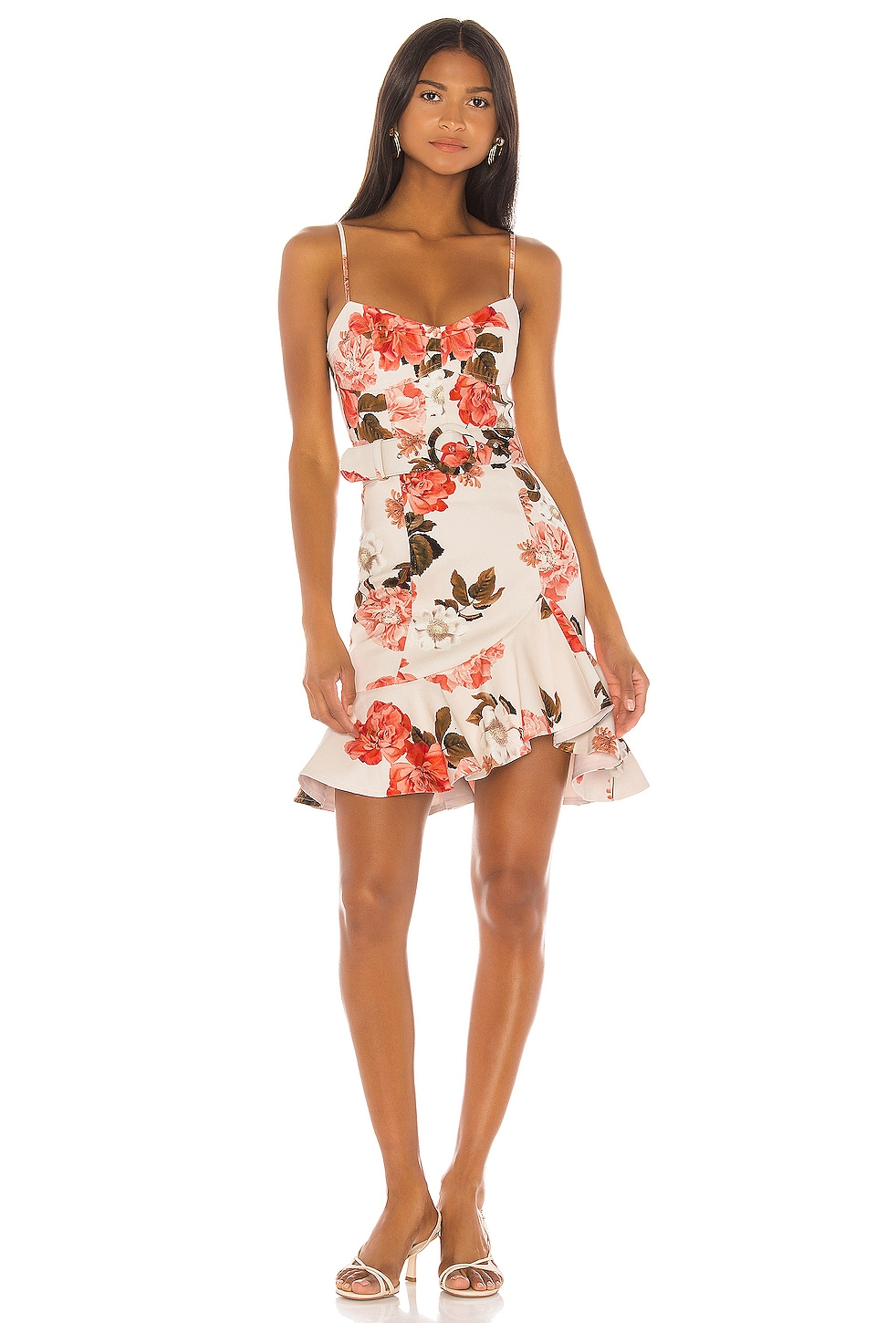 NICHOLAS Arielle Floral Frill Dress in Powder Multi