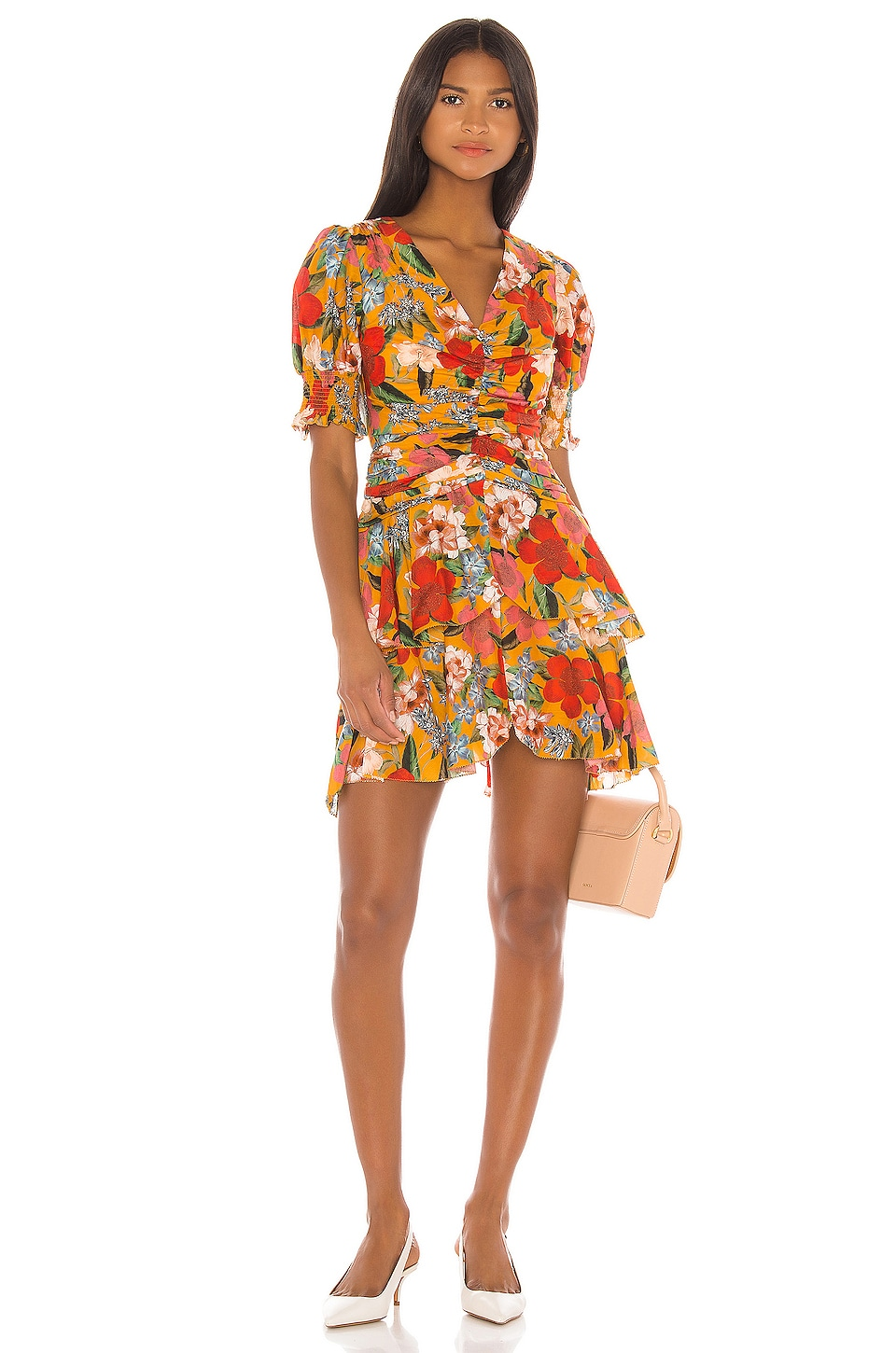 NICHOLAS Puff Sleeve Pintuck Dress in Tangerine Multi