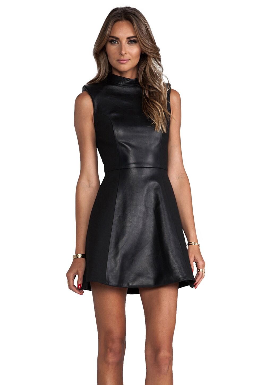 NICHOLAS Leather High Neck Dress in Black
