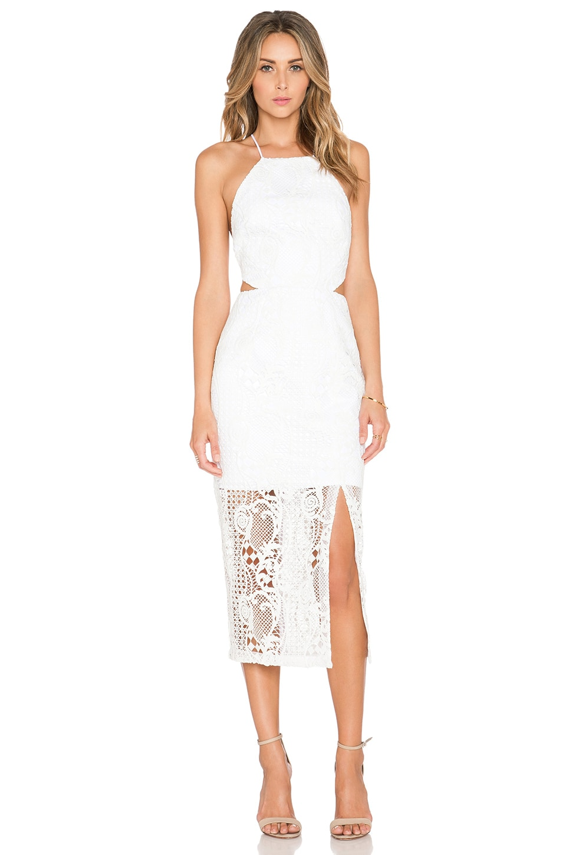 NICHOLAS Fleur Lace Criss Cross Back Dress in White