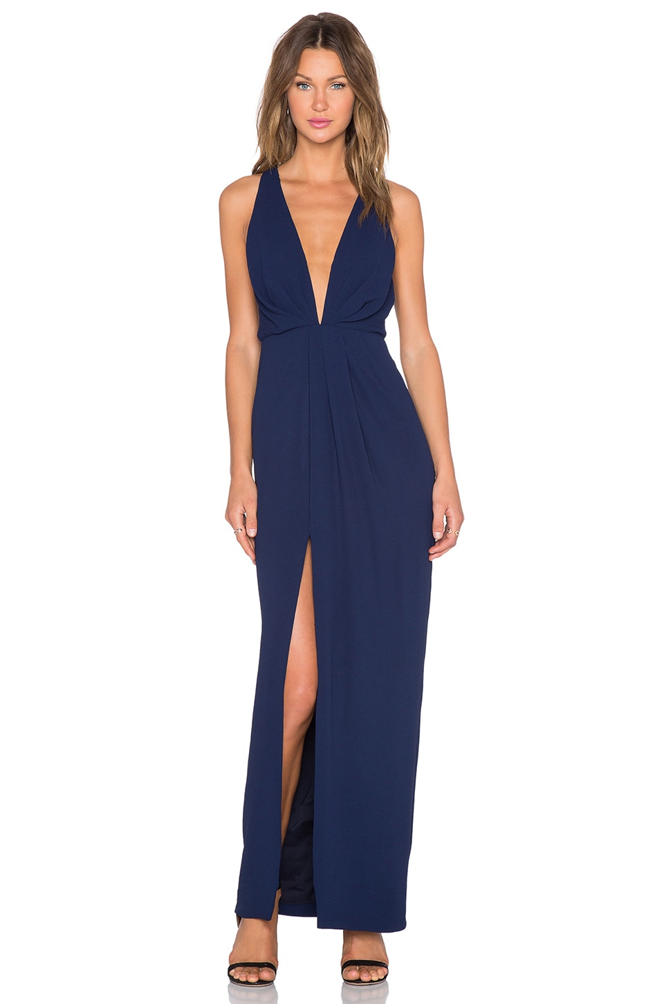 NICHOLAS Crepe Deep V Gathered Gown in Navy