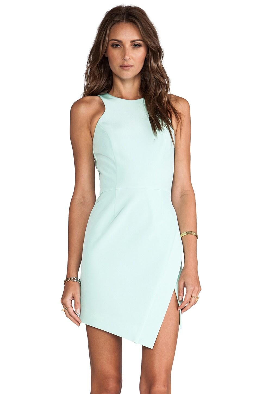 NICHOLAS Bonded Silk Wrap Skirt Dress in Mint