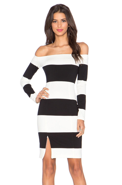NICHOLAS Orchard Stripe Off Shoulder Long Sleeve Dress in Off White & Black