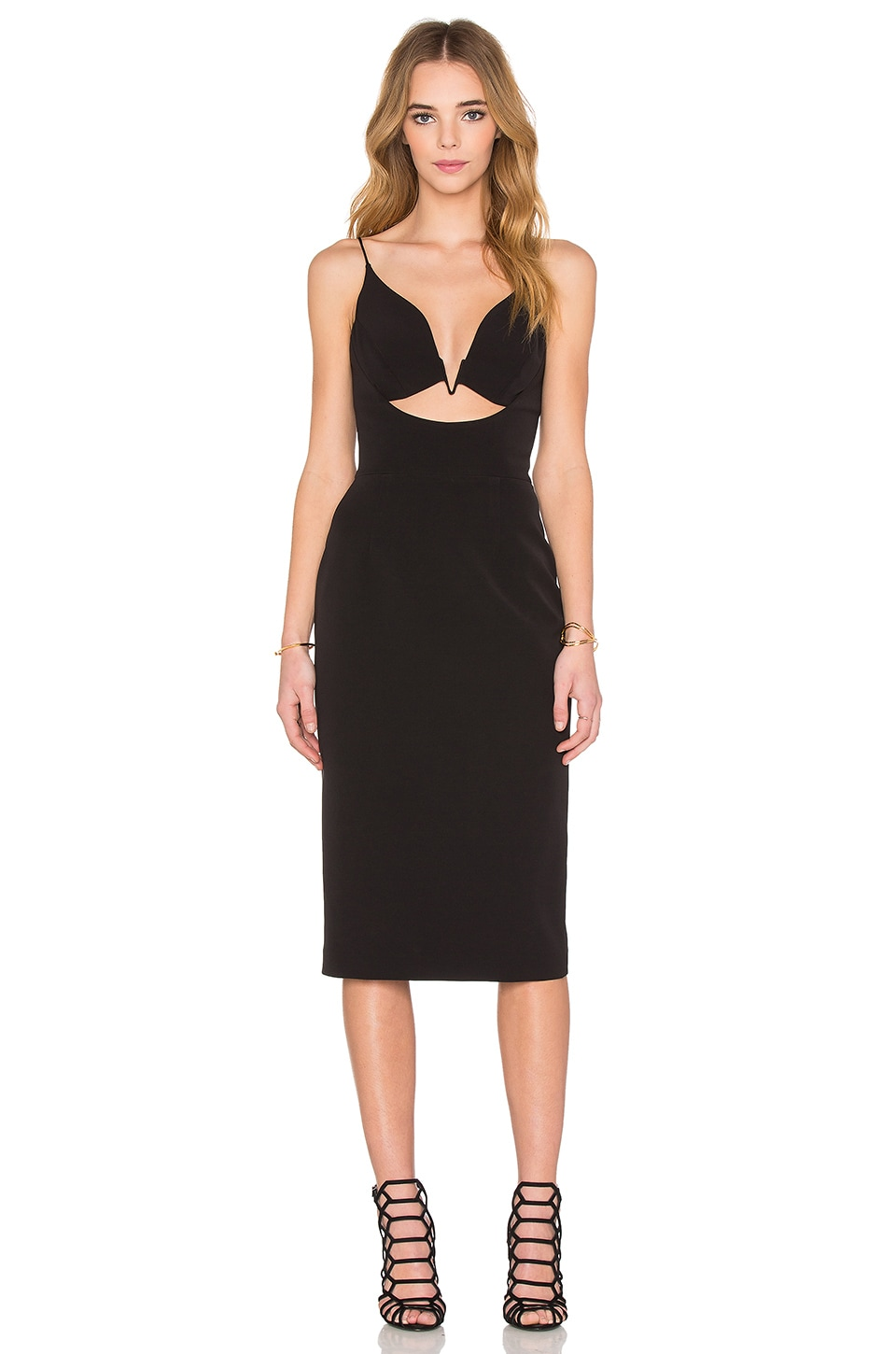 NICHOLAS Tech Bonded V Wire Bra Dress in Black