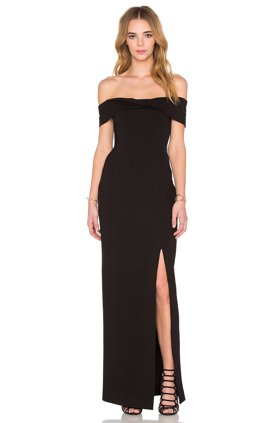 NICHOLAS Ponti Knot Front Off Shoulder Gown in Black