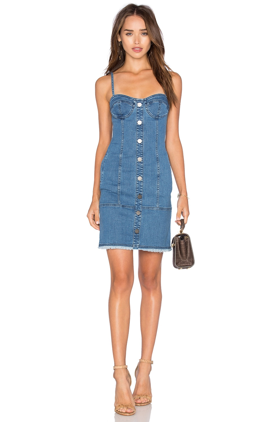 NICHOLAS Denim Button Up Dress in Blue