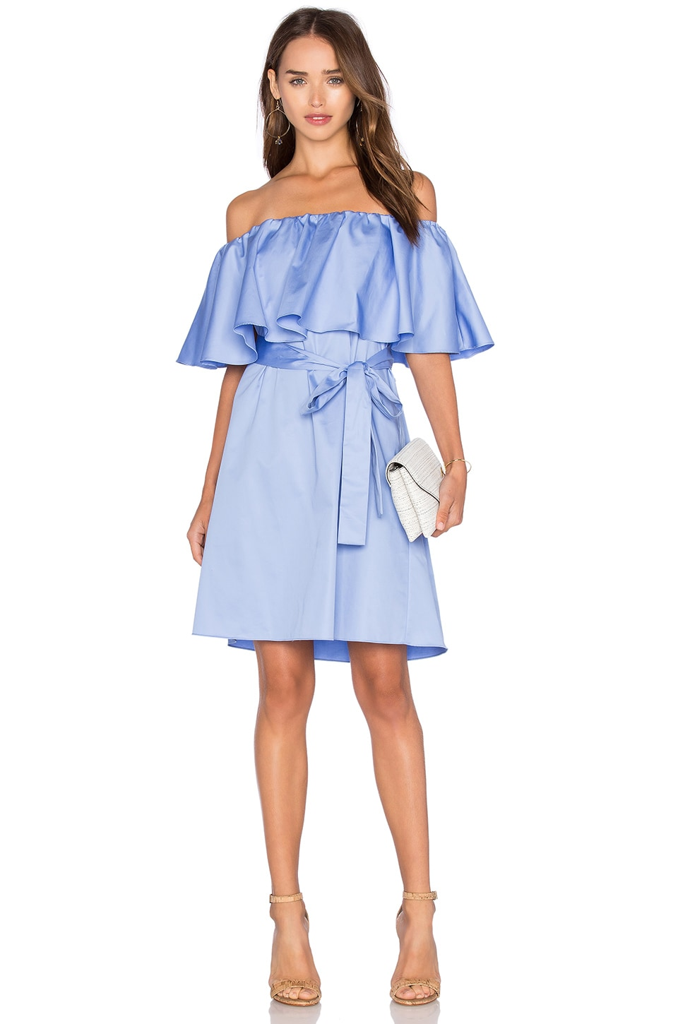 NICHOLAS Off Shoulder Mini Dress in Hydrangea