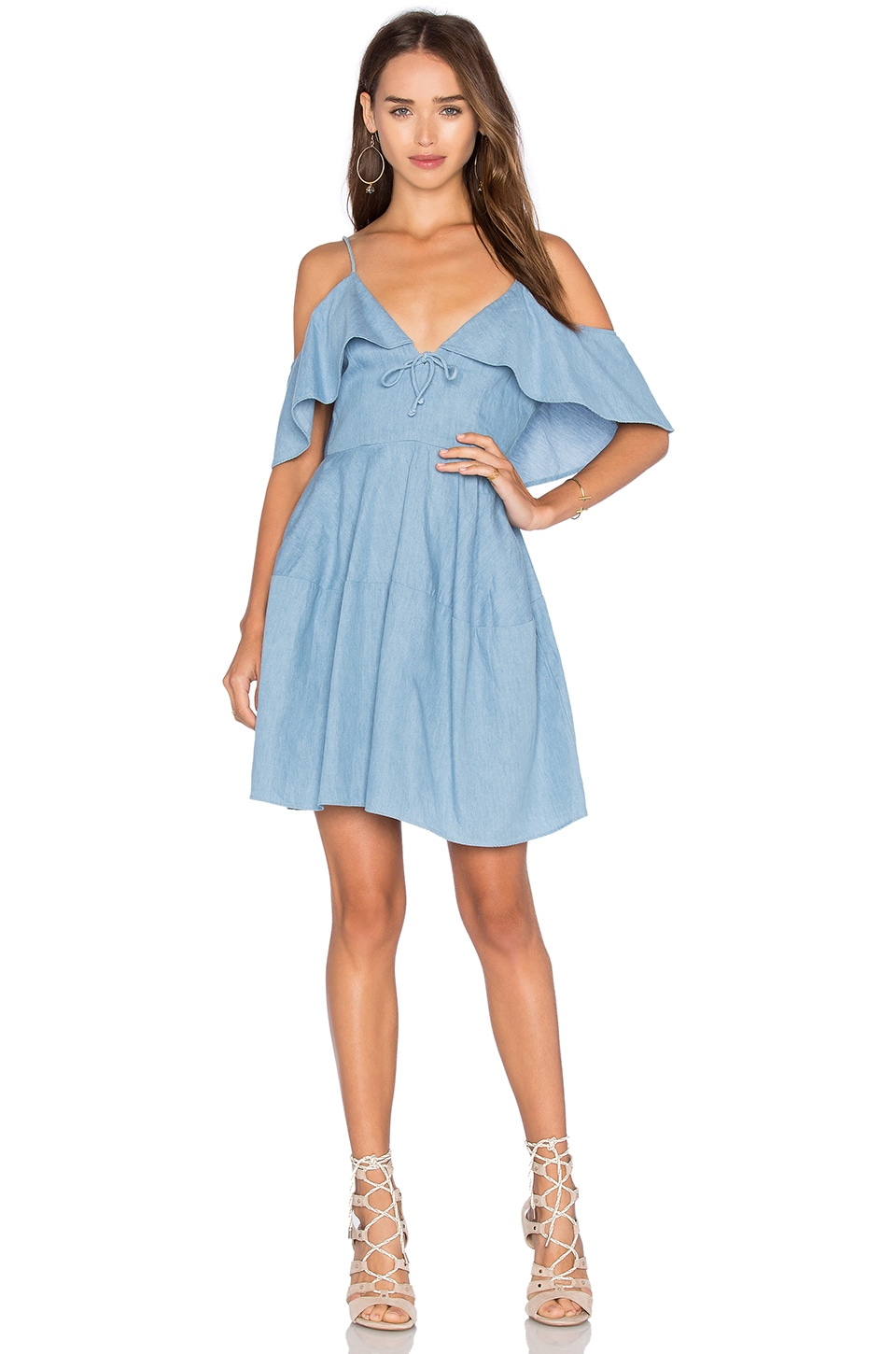 NICHOLAS Chambray Deep V Off Shoulder Dress in Light Blue
