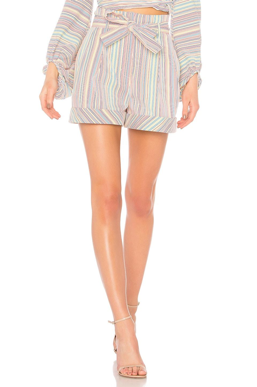 NICHOLAS Rainbow Stripe Belted Short in Multi