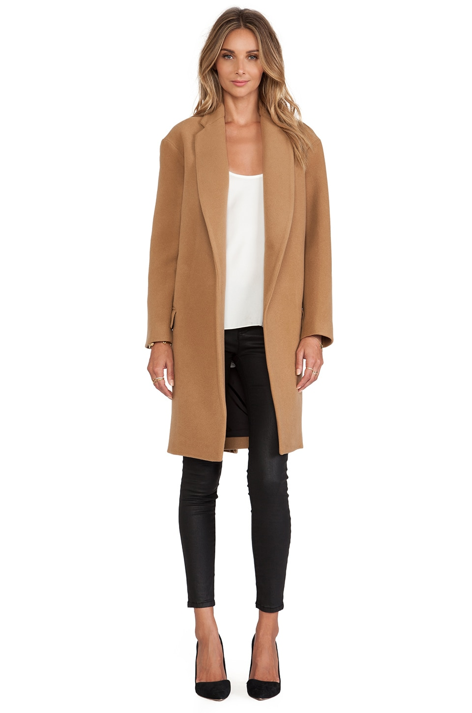NICHOLAS Felted Wool Full Length Coat in Camel