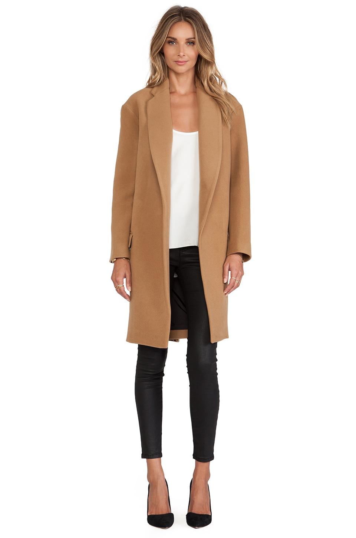 NICHOLAS Felted Wool Full Length Coat in Camel | REVOLVE
