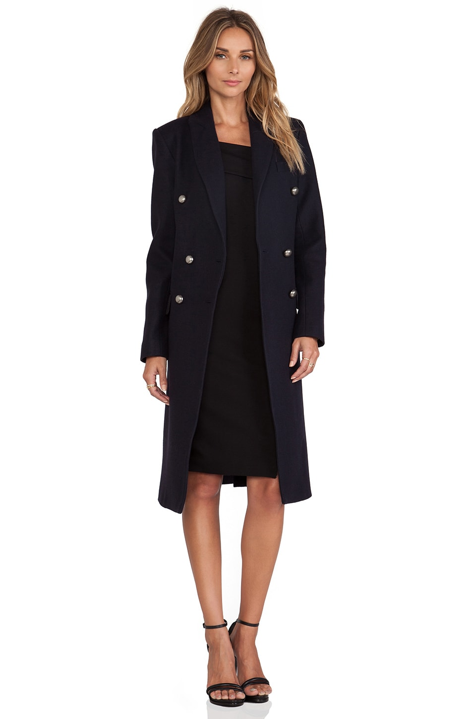 NICHOLAS Wool Double Breasted Coat in Nav