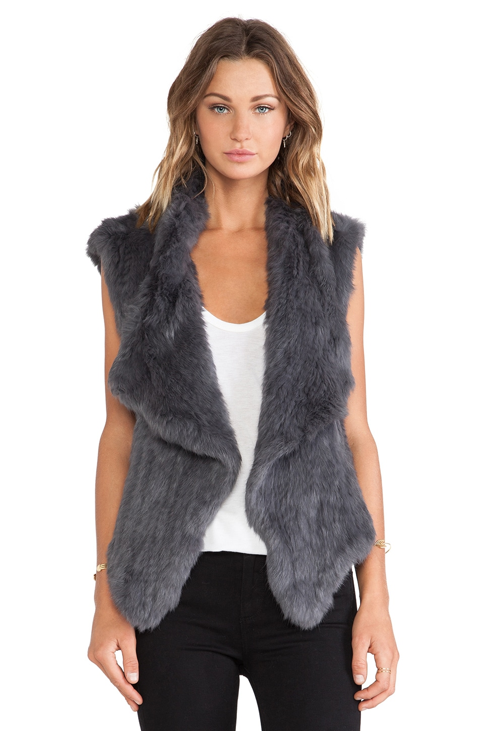 NICHOLAS Knitted Rabbit Fur Vest in Charcoal