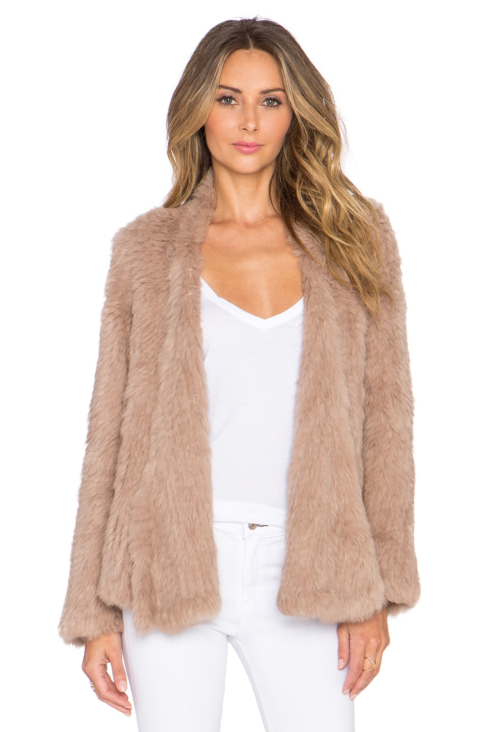 NICHOLAS Knitted Rabbit Fur Jacket in Taupe