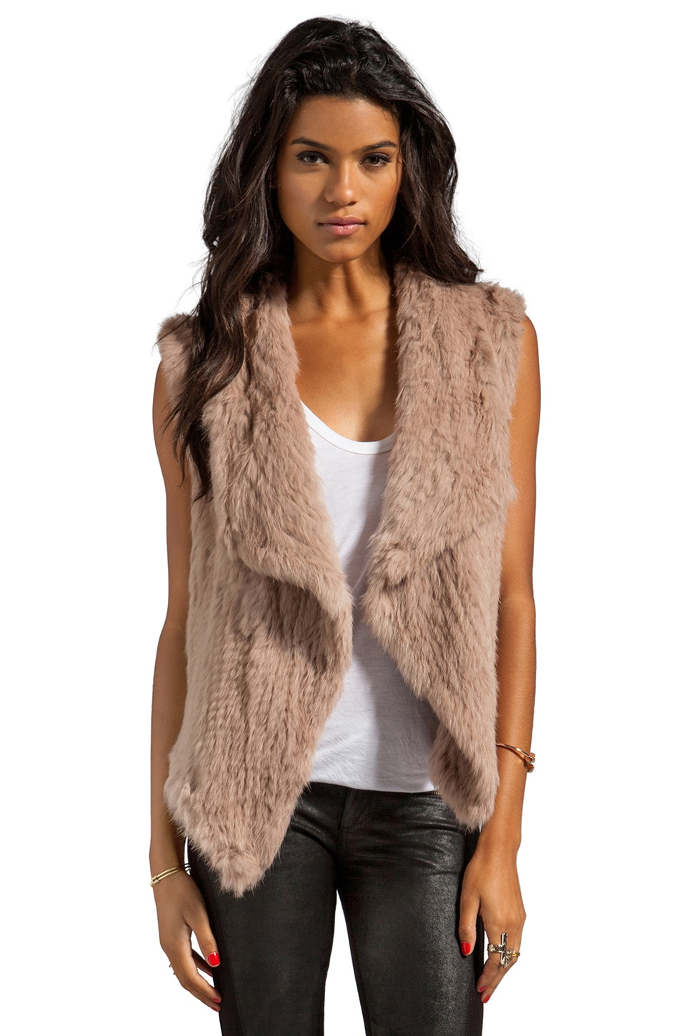 NICHOLAS Knitted Rabbit Fur Vest in Nude