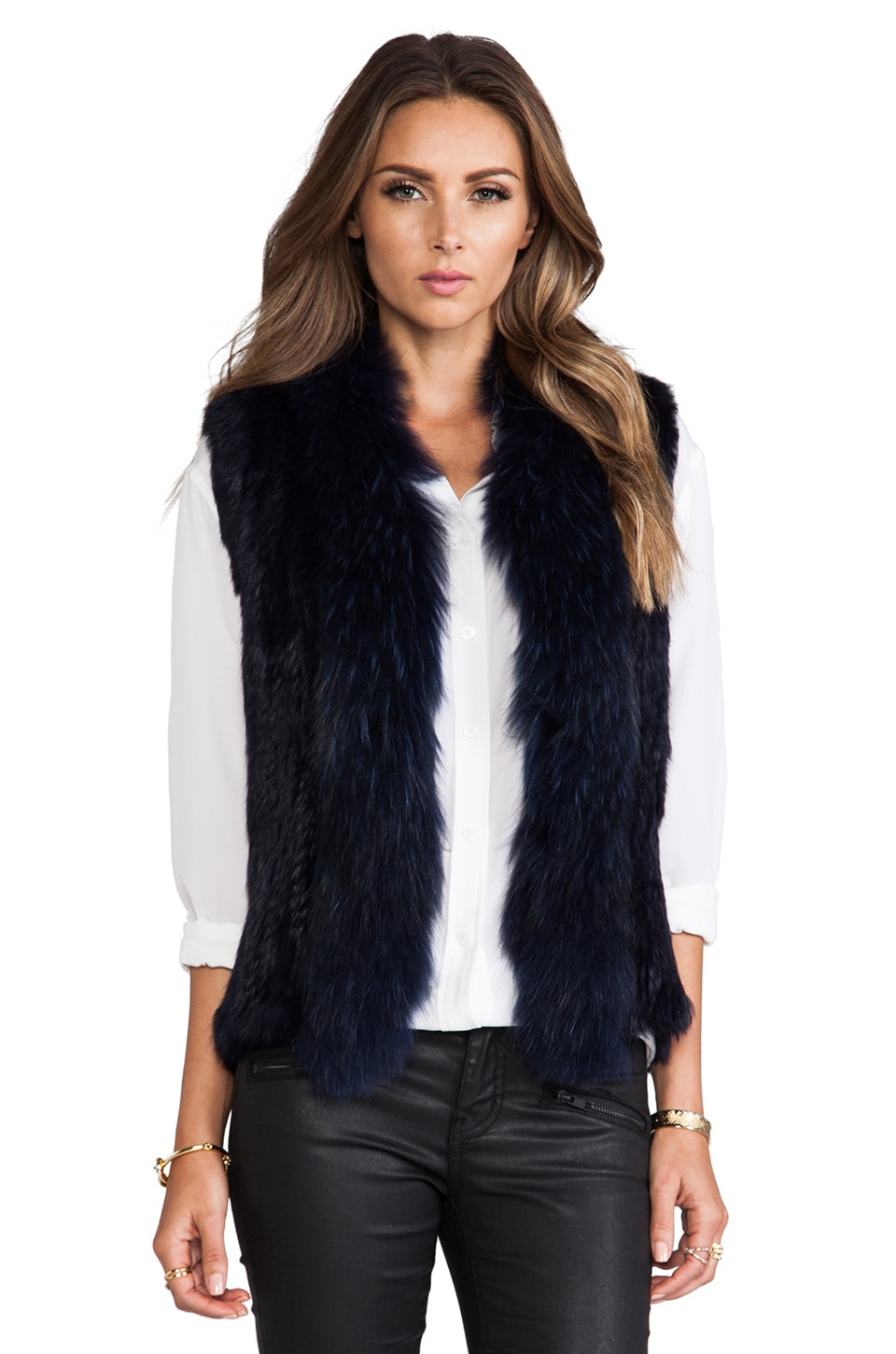 NICHOLAS Knitted Fur Trim Vest in Midnight