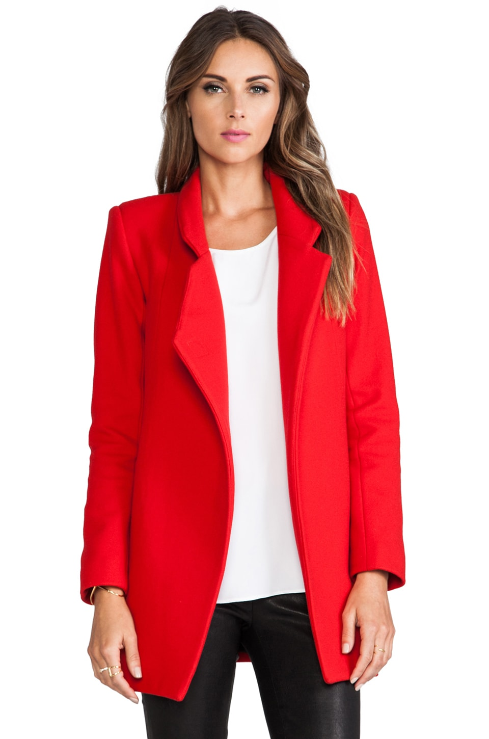 NICHOLAS Felted Wool Coat in Neon Red
